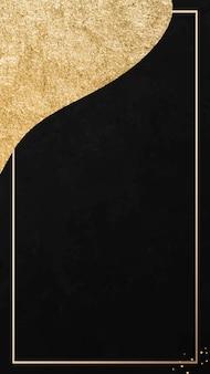 Cadre doré sur fond d'écran de téléphone portable à motifs noirs et dorés
