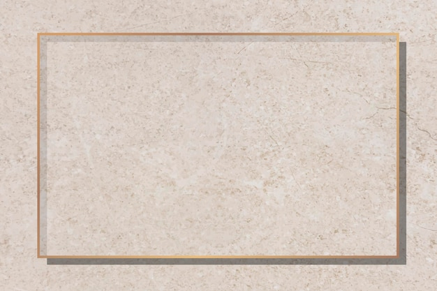 Cadre doré sur fond de marbre beige vecteur