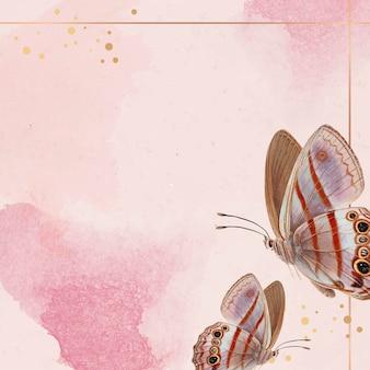 Cadre Doré Avec Fond à Motifs Papillon Rose Vecteur gratuit