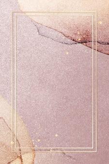 Cadre doré sur fond de paillettes roses