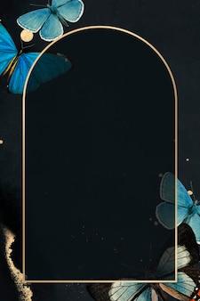 Cadre doré avec fond de papillons bleus