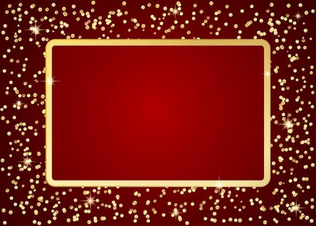Cadre doré sur fond rouge