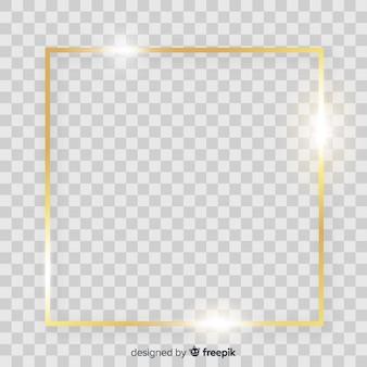 Cadre doré sur fond transparent