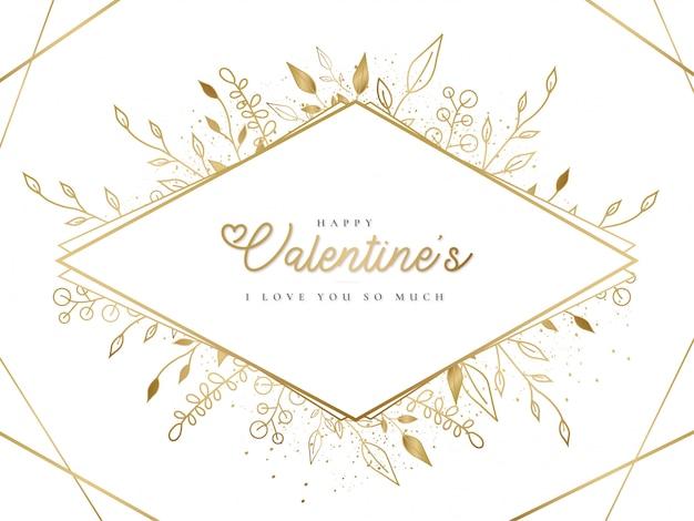 Cadre doré happy valentine's day avec des feuilles