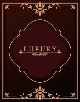 Cadre doré de luxe avec style victorien en fond de vin rouge