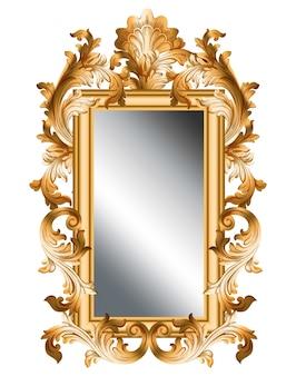 Cadre doré miroir vector réaliste 3d volume design