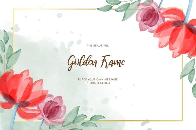 Cadre doré avec modèle de design floral minimaliste