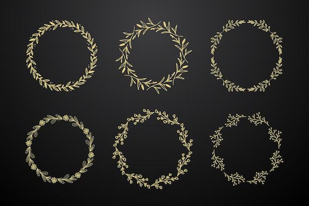 Cadre doré monogramme cercle fleur création de logo dégradé bordure de fleur dorée