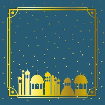 Cadre, doré, mosquée, ciel, étoiles