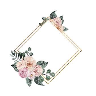 Cadre doré orné de roses roses aquarelles