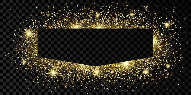Cadre doré avec des paillettes, des étincelles et des fusées éclairantes sur fond transparent foncé. toile de fond de luxe vide. illustration vectorielle.