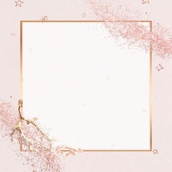 Cadre doré avec paillettes roses