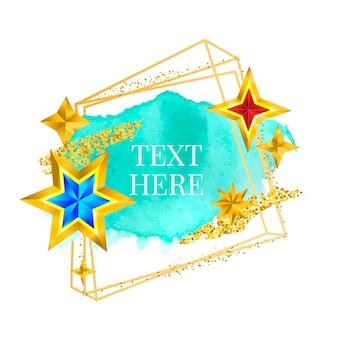 Cadre doré peinture peinte à la main coup de pinceau vecteur conception parfaite pour le logo de titre et la bannière de vente avec ...