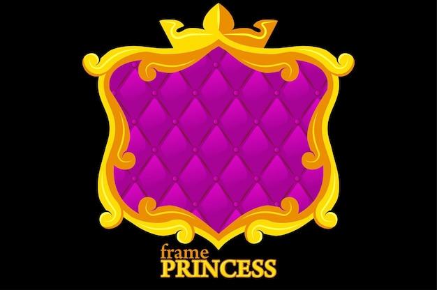 Cadre doré princesse avec rembourrage géométrique, avatars carrés de dessin animé pour la conception graphique.