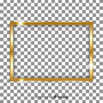 Cadre doré réaliste sur fond transparent