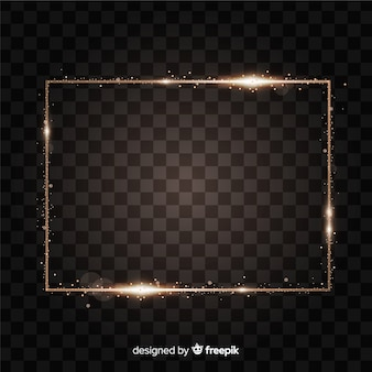 Cadre doré réaliste rectangle