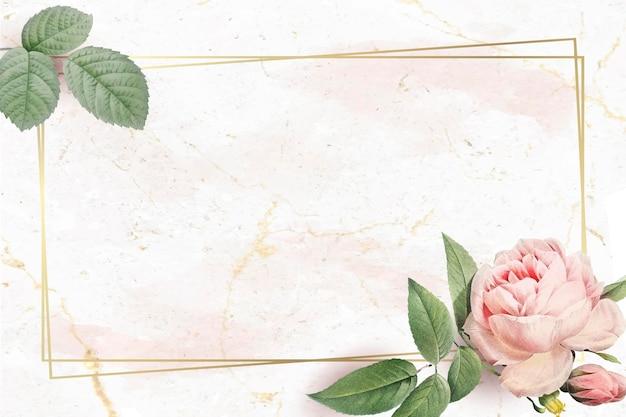 Cadre doré rectangle floral