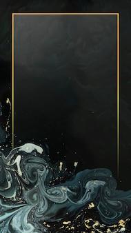 Cadre doré rectangle sur fond d'écran de téléphone mobile abstrait liquide