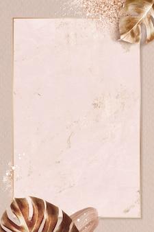 Cadre doré rectangle avec fond de feuille de monstera métallique