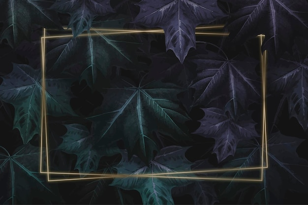 Cadre doré rectangle sur fond à motifs de feuilles d'érable vert violacé dessinés à la main