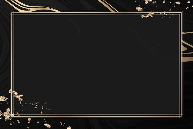 Cadre doré rectangle sur fond noir à motifs fluides