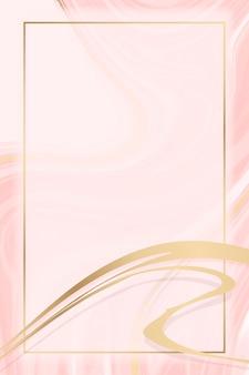 Cadre doré rectangle sur fond rose à motifs fluides