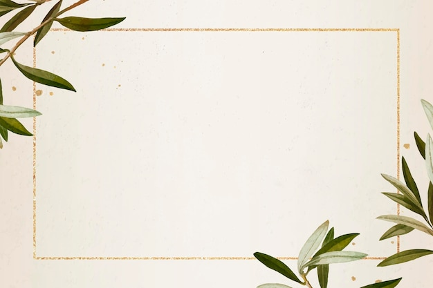 Cadre doré rectangle avec motif branche d'olivier