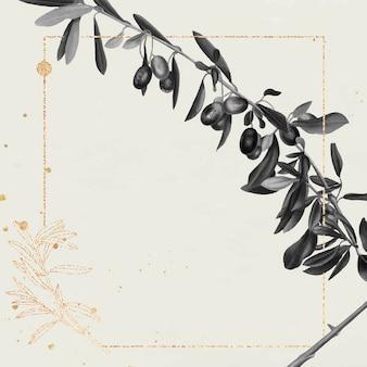 Cadre doré rectangle avec rameau d'olivier