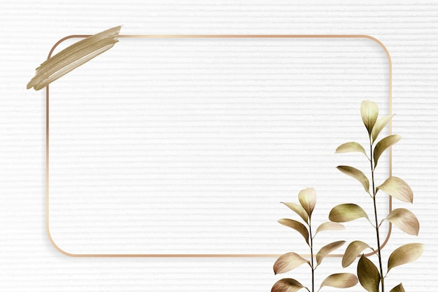 Cadre doré rectangle avec vecteur de fond de feuille d'eucalyptus métallique