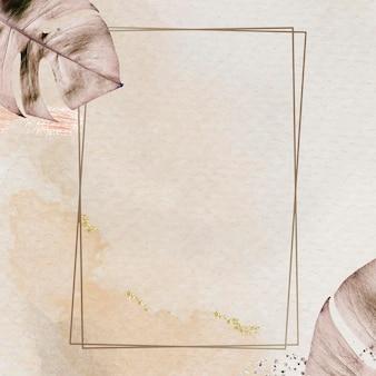 Cadre doré rectangle avec vecteur de fond de feuille de monstera métallique