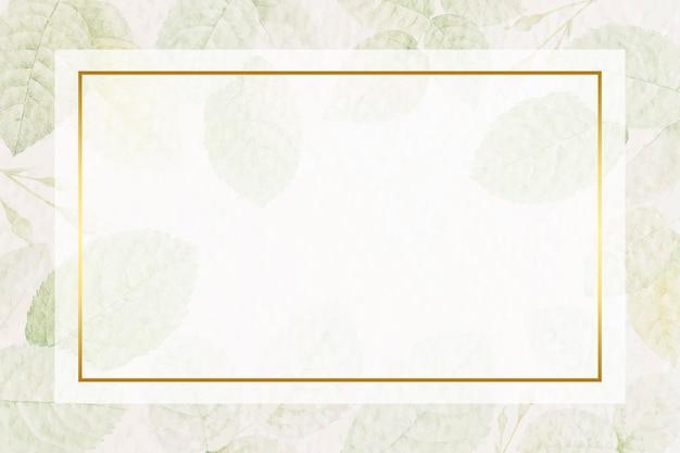 Cadre doré rectangle avec vecteur de fond motif feuillage