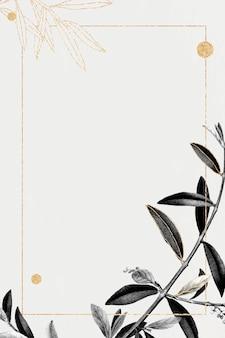 Cadre doré rectangle avec vecteur de motif de branche d'olivier