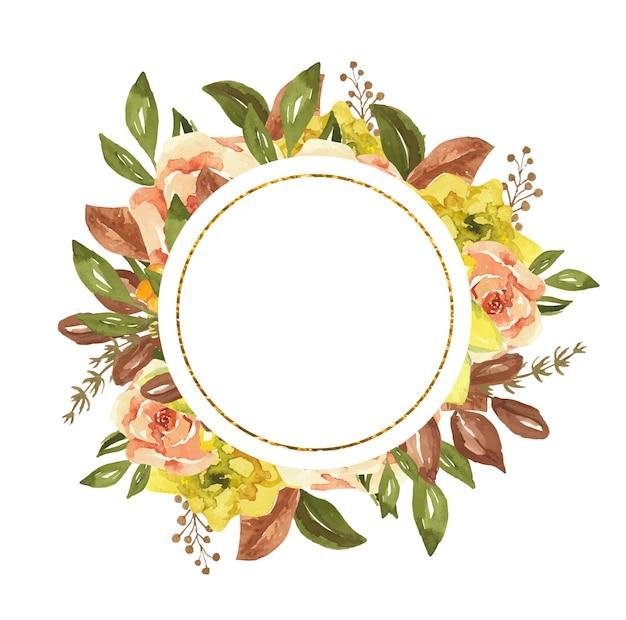 Cadre doré rond avec des fleurs d'aquarelle d'automne