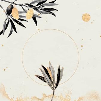 Cadre doré rond avec vecteur de branches d'olivier