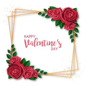 Cadre doré saint valentin avec des roses