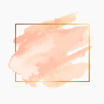 Cadre doré simple avec tache aquarelle