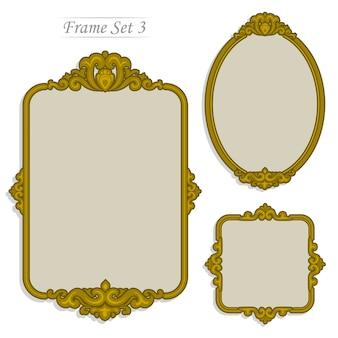 Cadre doré, style de luxe vintage en couleur plate.