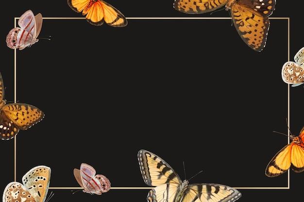 Cadre doré avec vecteur de fond à motifs papillon