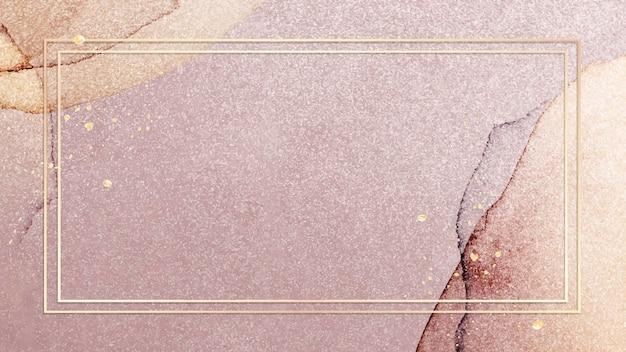 Cadre doré sur vecteur de fond de paillettes roses