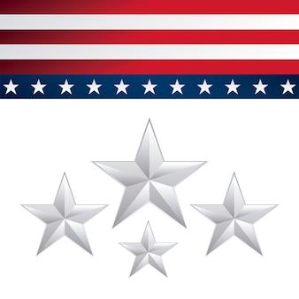 Cadre de drapeau américain et décoration d'étoiles