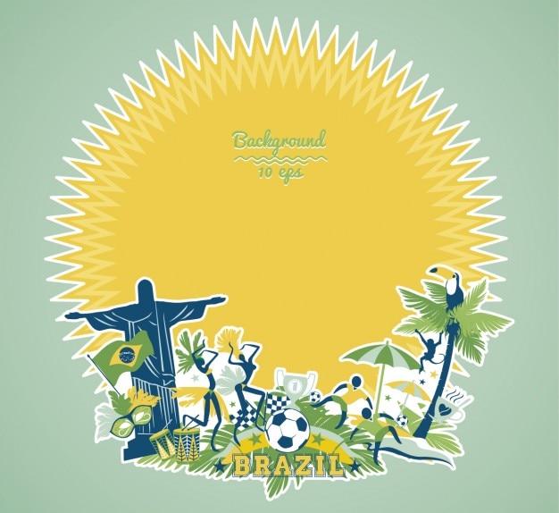 Cadre du brésil avec la forme de soleil