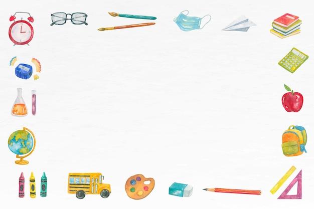 Cadre d'éducation à l'aquarelle sur le thème de l'école