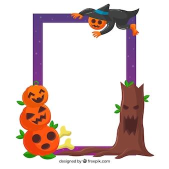 Cadre effervescent de halloween avec un design plat