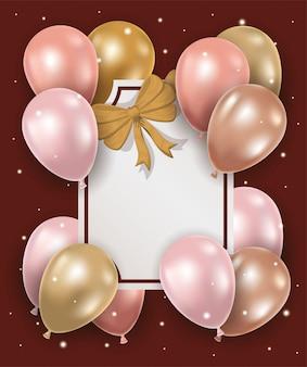 Cadre élégant avec un arc doré et des ballons à l'hélium