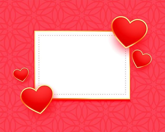 Cadre élégant coeurs rouges avec espace de texte