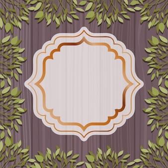 Cadre élégant doré avec fond à base de plantes et en bois