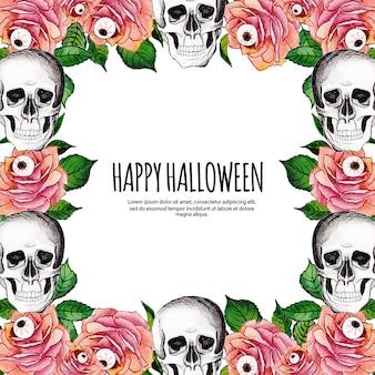 Cadre d'éléments aquarelle halloween
