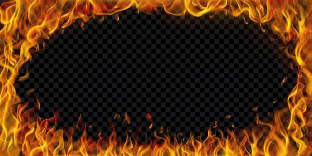 Cadre elliptique translucide fait de flammes de feu et d'étincelles sur fond transparent