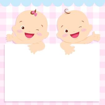 Cadre d'espace bébé garçon et fille