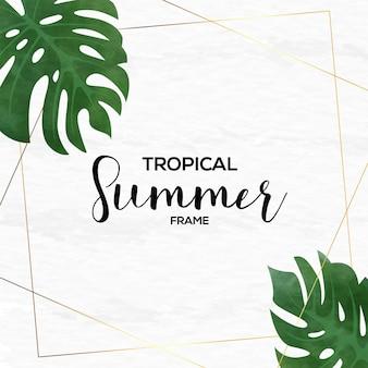 Cadre d'été tropical avec style aquarelle